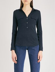 The White Company Patch Pocket Cotton Top Navy
