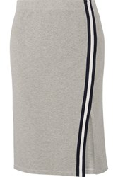 Splendid Varsity Active Striped Stretch Cotton And Modal Blend Jersey Skirt Gray