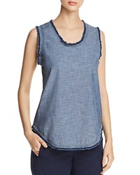Kenneth Cole Frayed Trim Tank Textured Chmb Nvy