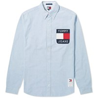 Tommy Jeans Flag Denim Shirt Blue