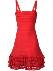 Herve Leger Layered Ruffles Fitted Dress
