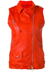 Giorgio Brato Sleeveless Biker Jacket Red