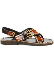 Prada Burned Effect Studded Sandals Calf Leather Leather Rubber Brown