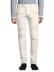 Balmain Slim Fit Biker Jeans White