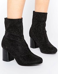 Truffle Collection Stretch Glitter Ankle Boot Black