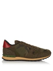 Valentino Rockrunner Camoucouture Print Felt Trainers Green Multi