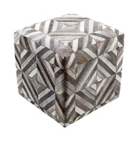 Surya Lycaon Cube Pouf White Dark Brown Light Gray Medium Gray Black