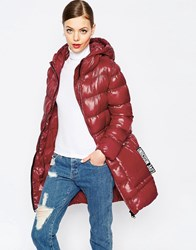 Love Moschino Classic Long Padded Coat In Red Re1