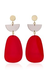 Isabel Marant Gold Tone Acrylic Earrings Red