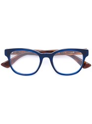 Gucci Eyewear Tortoiseshell Arm Square Glasses Blue
