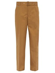 Burberry Belted Relaxed Leg Cotton Twill Trousers Brown