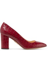 Charlotte Olympia Liz Croc Effect Leather Pumps Burgundy