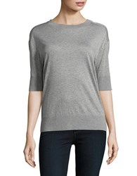 Dkny Jewelneck Relaxed Fit Heathered Tee Grey