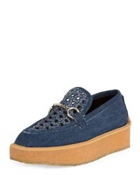Stella Mccartney Brody Woven Denim Loafer Dark Blue