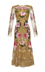 Dolce And Gabbana Long Sleeve Baroque Embroidered Tulle Dress Gold Pink Green