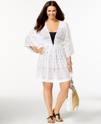 Dotti Plus Size Laser Cut Dress Cover Up Women's Swimsuit White