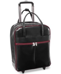 Mcklein Volo 15 Wheeled Leather Carry On Black Red Trim