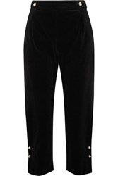 Mother Of Pearl Linnie Faux Embellished Velvet Tapered Pants Black