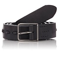 Felisi Men's Pick Stitched Leather Belt Black Blue Black Blue