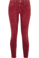 Current Elliott The Stiletto Corduroy Mid Rise Skinny Jeans Red