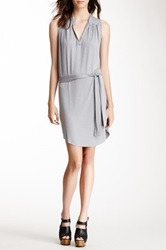 Sweet Pea Sleeveless Belted Tunic Dress Gray