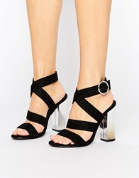 Truffle Collection Strappy Block Heel Sandal Black Mf Jewel Heel