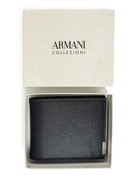 Armani Collezioni Blue Beige Two Tone Grained Wallet