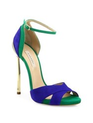 Casadei Two Tone Suede Ankle Strap Sandals Blue Green