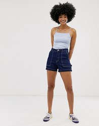 Monki Contrast Stitch Denim Shorts In Blue