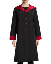 Jane Post Hooded Button Front Reversible Coat Black Stone