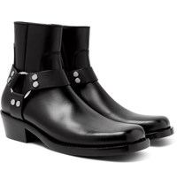 Balenciaga Leather Harness Boots Black