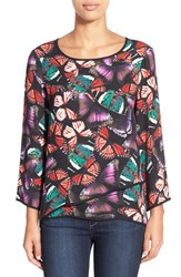 Women's Chaus Butterfly Print Tiered High Low Blouse