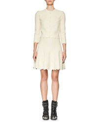 Alexander Mcqueen Crocheted Lace 3 4 Sleeve Cardigan Ivory