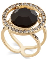 Inc International Concepts Gold Tone Black Stone And Crystal Halo Ring Only At Macy's