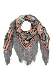 Etro Printed Silk And Viscose Scarf W Fringes Multicolor