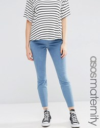 Asos Maternity Ridley Jeans In Honey Light Wash With Rip And Repair Light Wash Blue