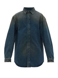 Balenciaga Flap Denim Shirt Indigo