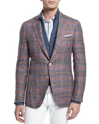 Isaia Madras Plaid Two Button Sport Coat Red Blue Men's