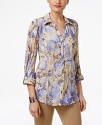 Jm Collection Printed Crinkled Shirt Only At Macy's Water Floral Iris
