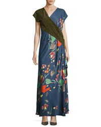 Diane Von Furstenberg Draped Mixed Print Floral And Dot Silk Maxi Dress Multicolor