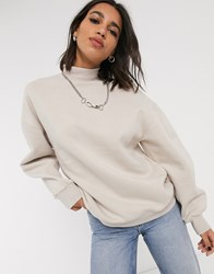 Bershka High Neck Sweat In Beige