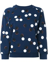 Maison Kitsune Patterned Knitted Top Women Cotton S Blue