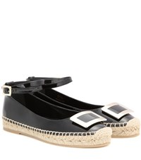 Roger Vivier Embellished Patent Leather Espadrilles Black