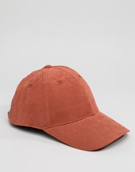 Asos Baseball Cap In Rust Peached Texture Rust Orange
