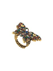 Gucci Crystal Studded Butterfly Ring Gold