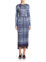 Suno Printed Long Sleeve Body Con Sheath Dress Blue Tie Dye