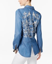 Inc International Concepts Embroidered Back Denim Shirt Only At Macy's Indigo