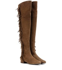 Saint Laurent Bb 20 Fringed Suede Over The Knee Boots Brown