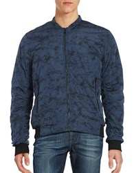Selected Textured Zip Front Jacket Dark Blue