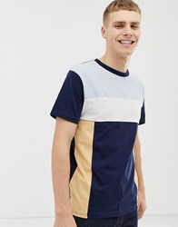 Bellfield T Shirt With Cut And Sew Colour Block In Navy